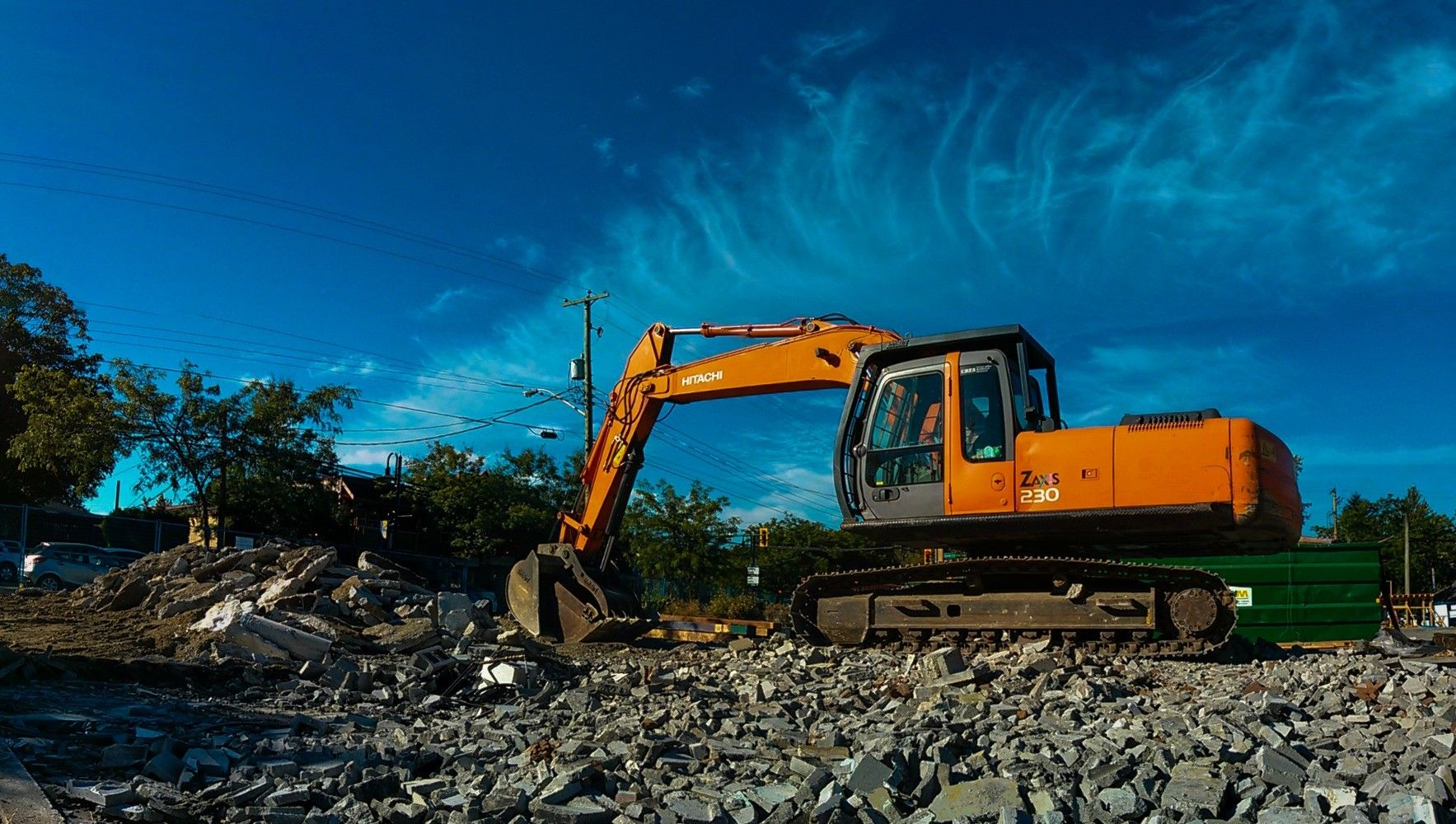 Hitachi ZAXIS 230 working on a Valley Crew Contracting Ltd. project